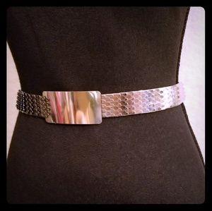 Women's Silver Chrome Stretch Belt Sm/Med